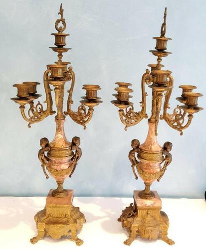 Pair of Italian Candelabra in Brass with Cherubs Vintage (1 of 8)