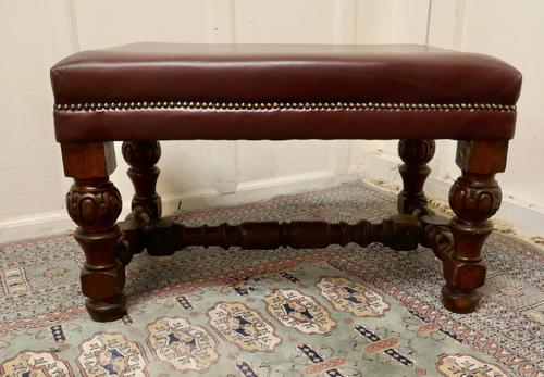 Large Victorian Oak & Leather Library Stool (1 of 6)