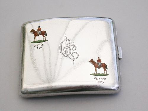 Victorian Silver & Enamel Presentation Cigarette Case with Horse Racing Interest by George Heath, London, 1890 (1 of 15)