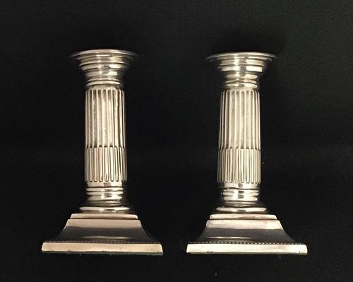 Pair of Silver Plated Corinthian Column Candlesticks (1 of 5)