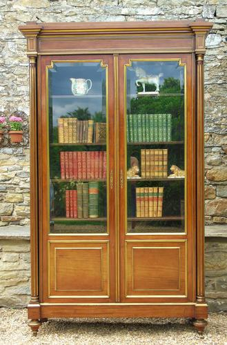 19th Century French Directoire Style Mahogany Bookcase Cabinet (1 of 11)