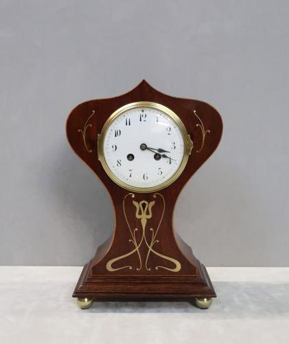 French Art Nouveau Mahogany Mantel Clock by Samuel Marti (1 of 7)