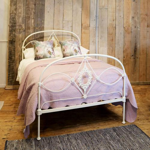 Mid Victorian Cast Iron Antique Bed in Cream (1 of 7)