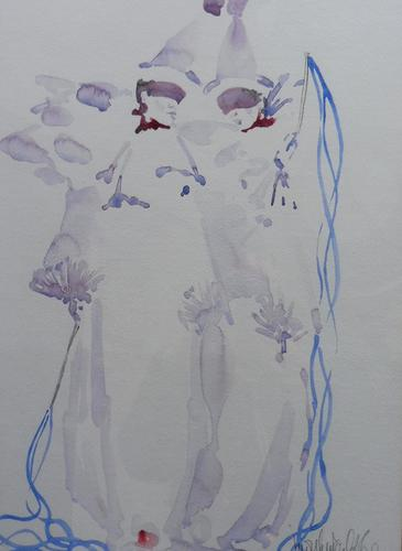 Watercolour Clowns Listed Irish Artist Judith Caulfield Walsh (1 of 10)
