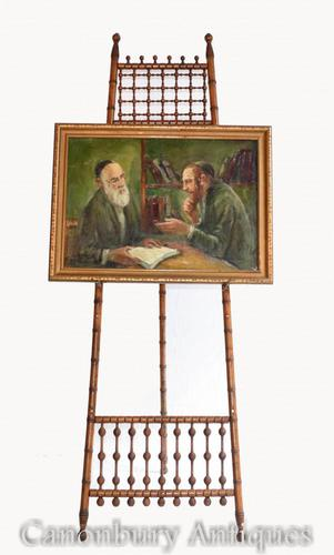 Oil Painting Jew and Rabbi Portrait Antique Yiddish Judaic Art 1930 (1 of 9)