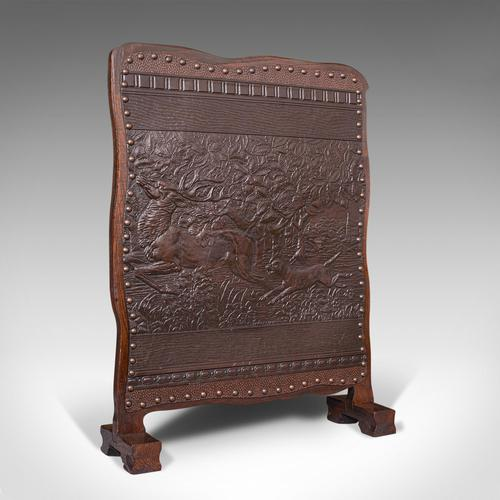 Antique Embossed Fire Screen, Oak, Leather, Fireside, Arts & Crafts, Edwardian (1 of 12)