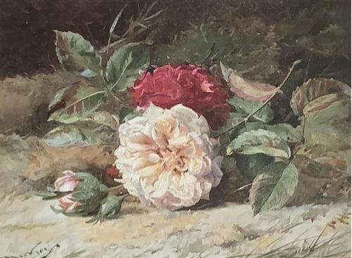 William Jabez Muckley Watercolour 'Rose's on a Bank' (1 of 2)