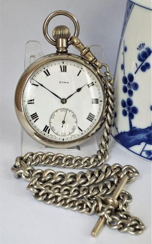 1920s Cyma Pocket Watch with Chain (1 of 5)