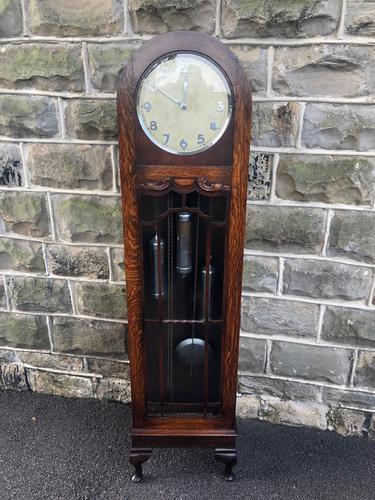 Antique Oak Triple Weight Granddaughter Clock (1 of 10)