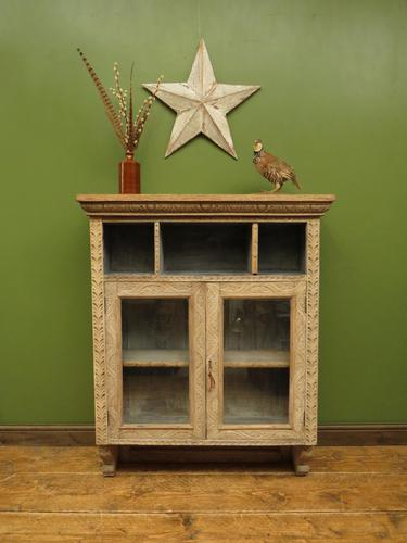 Antique Limed Oak Display Cabinet, Victorian rustic bohemian wall cabinet (1 of 16)