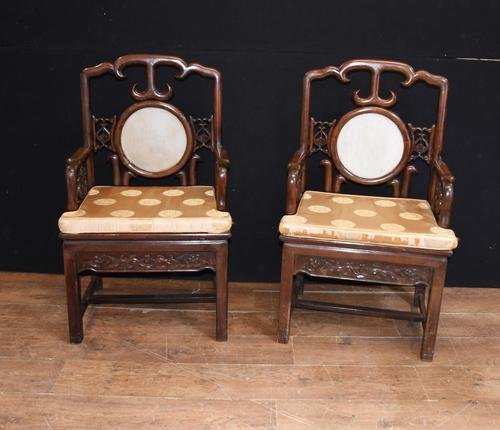 Pair Antique Chinese Armchairs Hardwood 19th Century Seat Chair (1 of 13)