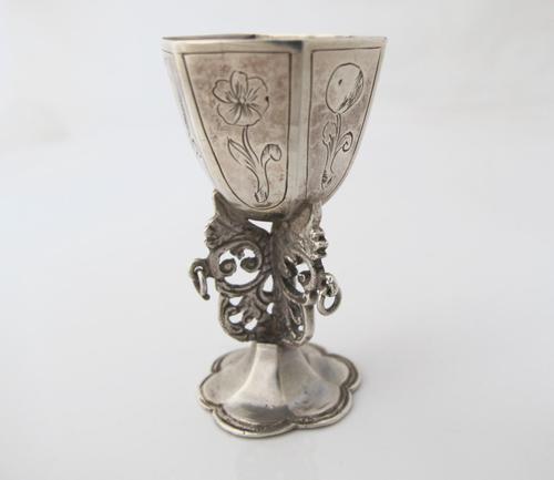 Rare Dutch Silver Miniature Snake Cup Amsterdam c.1720 (1 of 11)
