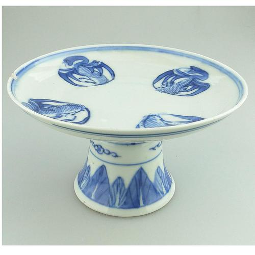 A Chinese Porcelain B&w Pedestal Tazza Comport Signed 19thc (1 of 6)