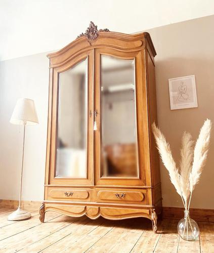 French Antique Style Walnut Armoire / Wardrobe 1940s (1 of 6)