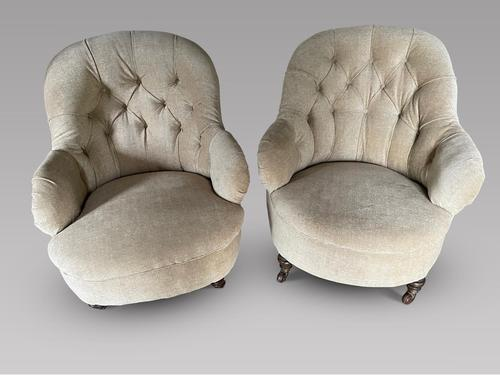 Pair of Low Button Back Chairs (1 of 4)