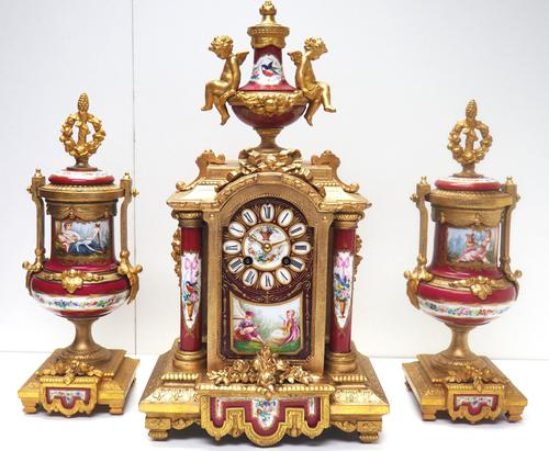 Incredible French Sevres Mantel Clock French Striking 8-day Garniture Clock Set (1 of 19)
