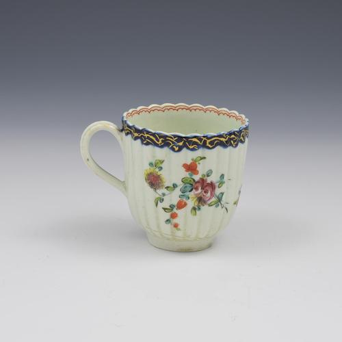 Pennington Liverpool Porcelain Fluted Polychrome Coffee Cup c.1770 (1 of 8)