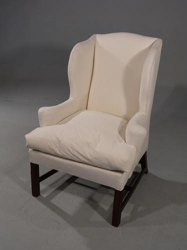 Early 20th Century Mahogany Framed Wing Chair of Chippendale Design (1 of 5)