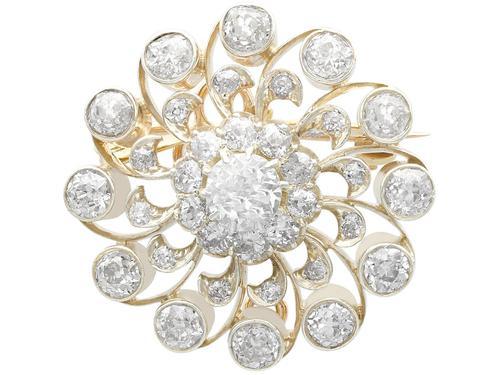 3.76ct Diamond & 9ct Yellow Gold Brooch / Pendant - Antique c.1880 (1 of 9)