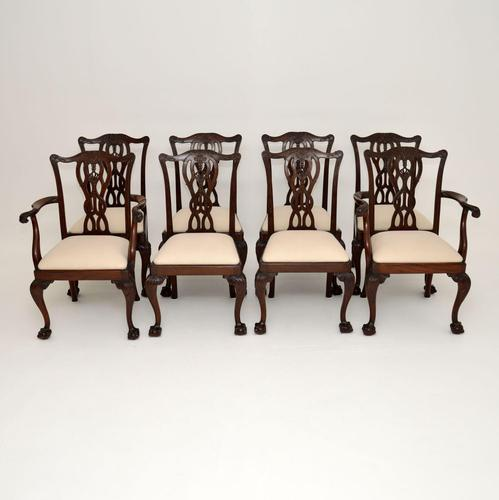 Set of 8 Antique Mahogany Chippendale Style Dining Chairs (1 of 12)