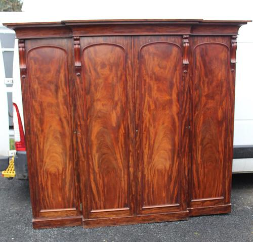 1900s Mahogany 4 Door Breakfront Wardrobe with Slides (1 of 6)