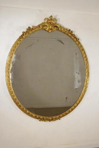 Victorian Gilt Large Oval Mirror (1 of 9)