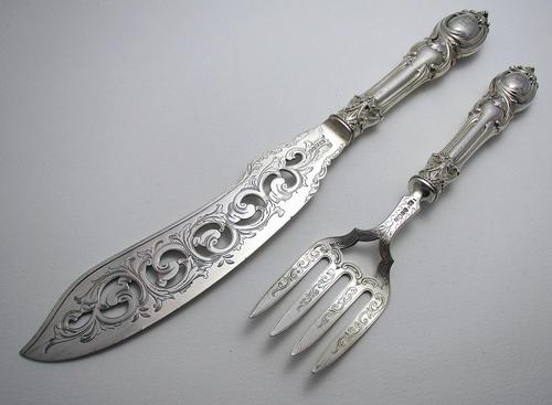 Ornate Antique Victorian Solid Sterling Silver Fish Servers, Serving Knife+Fork, English Hallmarked (1 of 11)