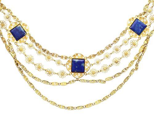 5.55ct Lapis Lazuli & 18ct Yellow Gold Necklace - Antique Victorian c.1870 (1 of 12)