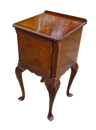 Burr Walnut Bedside Table, in the Queen Anne Style Circa 1920 (1 of 2)