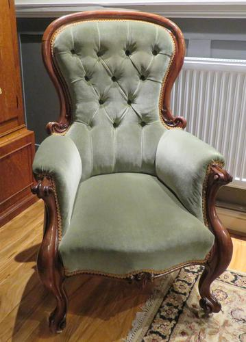 Victorian Walnut Armchair Recently Upholstered 1880 (1 of 7)