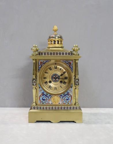 French Napoleon III Brass & Champleve Mantel Clock by Japy Freres (1 of 10)