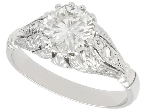 1.74ct Diamond & Platinum Solitaire Ring - French c.1930 (1 of 9)