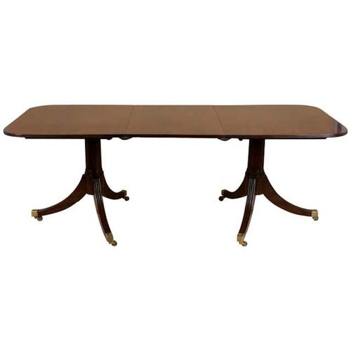 Early 20th Century Solid Mahogany Twin Pillar Dining Table (1 of 7)