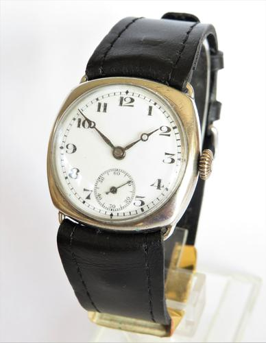 Gents silver cushion cased wrist watch, 1927 (1 of 5)