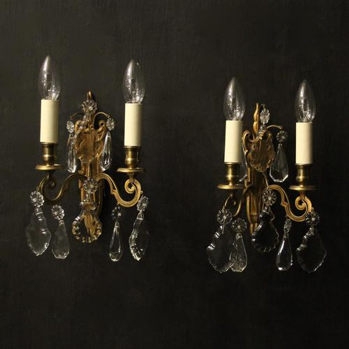 French Pair of Gilded Brass Wall Lights (1 of 10)