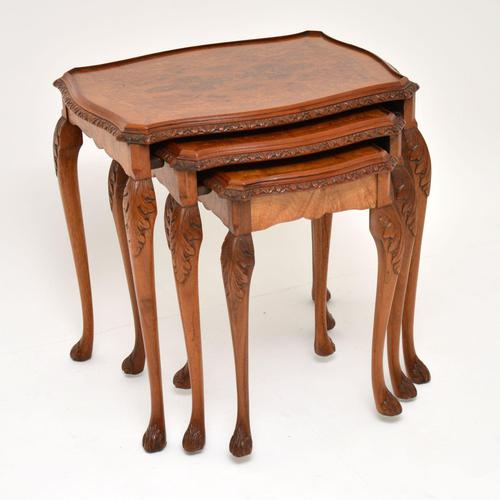 Queen Anne Style Burr Walnut Nest of Tables (1 of 8)