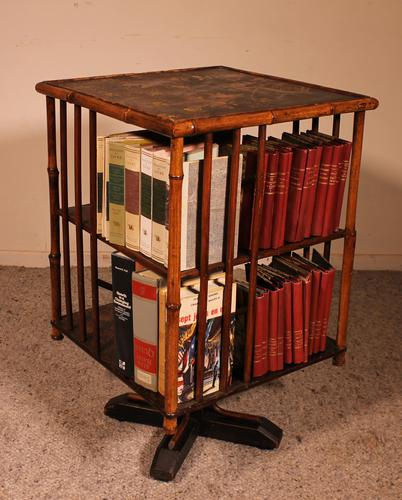 English Revolving Bookcase Early 20th Century in Bamboo & Asian Decor (1 of 10)