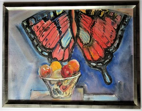 Michael Rothenstein R.A, Watercolour, Butterfly Kite & Fruit Bowl, 1988, Framed (1 of 5)