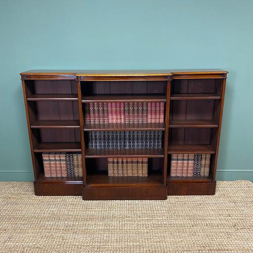 Spectacular Victorian Figured Mahogany Antique Breakfront Open Bookcase (1 of 6)