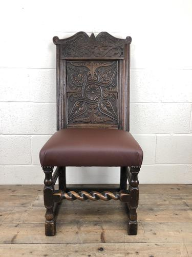Early 18th Century Carved Oak Chair with Leather Seat (M-192) (1 of 10)