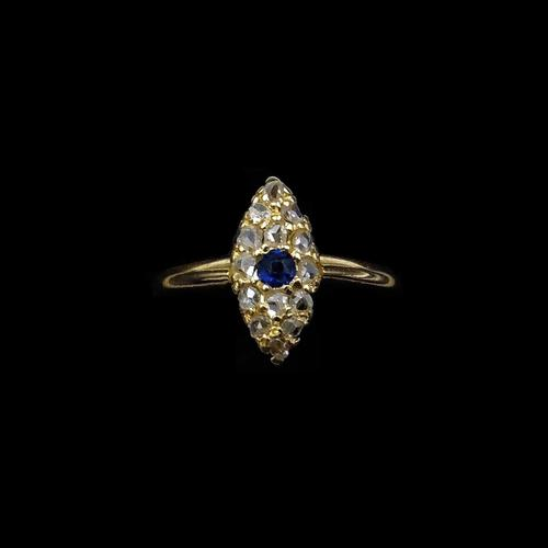 Antique Blue Sapphire & Rose Cut Diamond Marquise Navette 18ct Gold Ring (1 of 9)