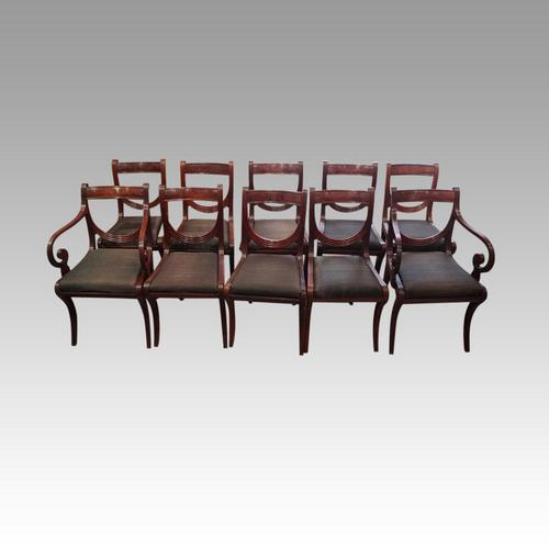 Set of 10 Regency Mahogany Dining Chairs (1 of 12)