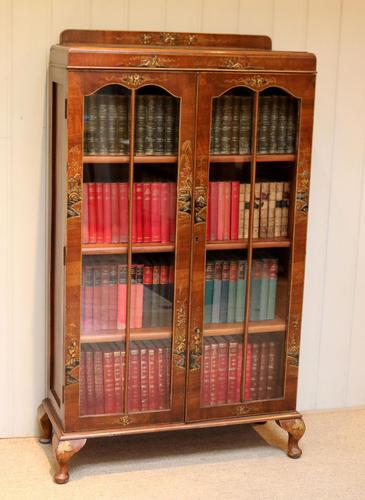 Walnut Chinoiserie Decorated Bookcase (1 of 10)