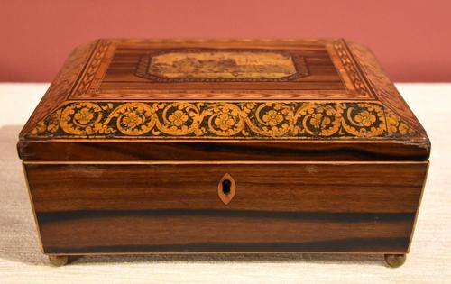 Regency Tonbridge Ware Castle Rosewood Sewing Box (1 of 8)