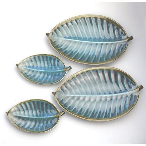 A Retro Set 4X Novelty Studio Pottery Leaf Plates Surrey Ceramics 1960's (1 of 11)
