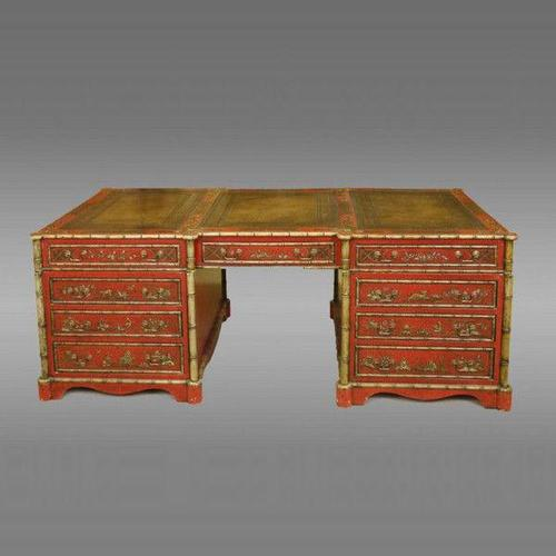 Magnificent large English library pedestal partners desk with chinoiserie decoration overall (1 of 4)
