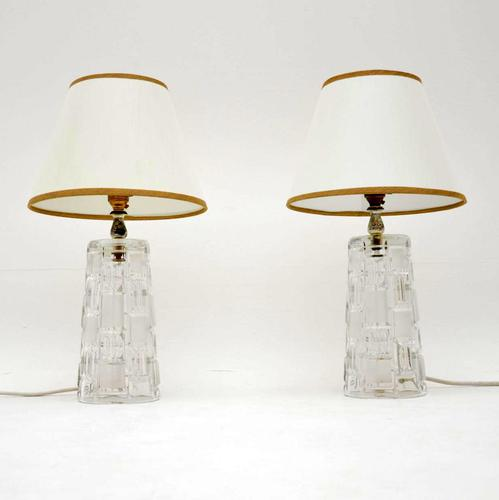 1960's Pair of Vintage Glass Table Lamps (1 of 8)