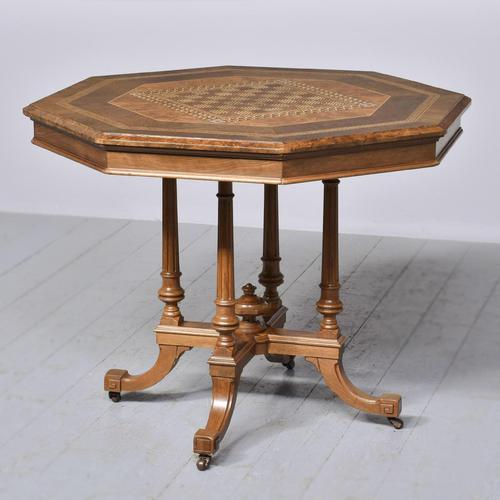 Victorian Walnut & Inlaid Games Table (1 of 10)