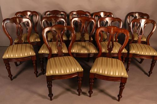Set of 12 Victorian Spear Point Balloon Back Dining Chairs (1 of 11)