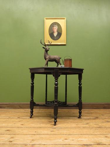 Antique Edwardian Black Painted Occasional Table, Lamp Table, Gothic Shabby Chic (1 of 13)